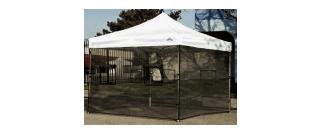 Sidewall screen mesh walls for food booths