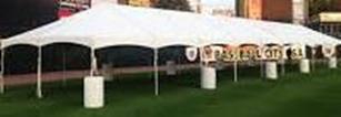 Event tent set up on grass
